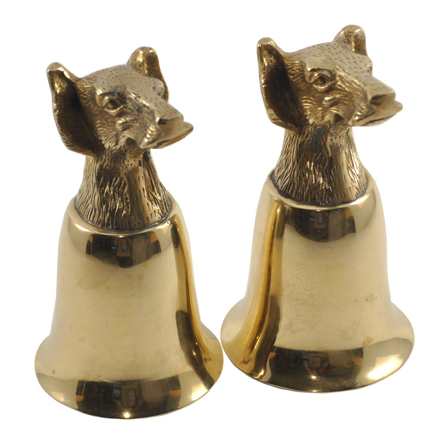 Vintage Brass Hound Head Stirrup Cups, The Hour Shop