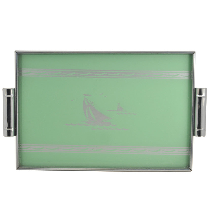 Reverse Painted Sailboat Tray, The Hour Shop
