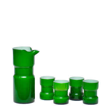 Vintage Green Cased Glass Cocktail Pitcher Set, The Hour