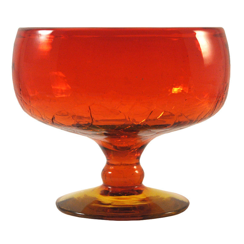 The Hour Shop, Vintage Blenko Amberina Crackle Glass Bowl