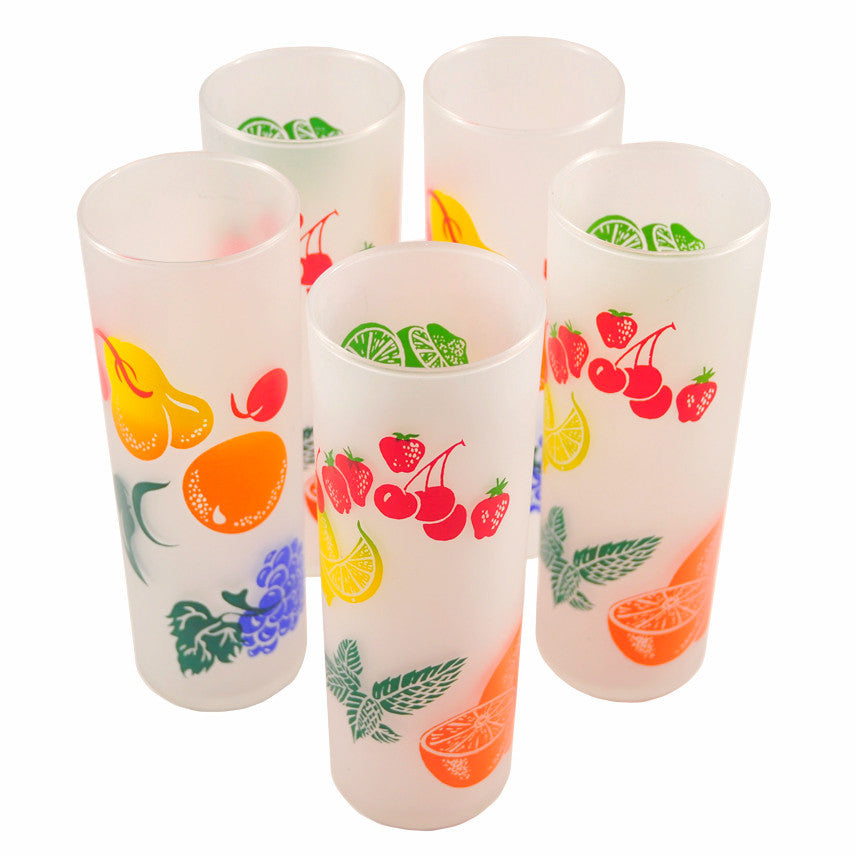 Frosted Fruit Collins Tiki Glasses, The Hour Shop Vintage