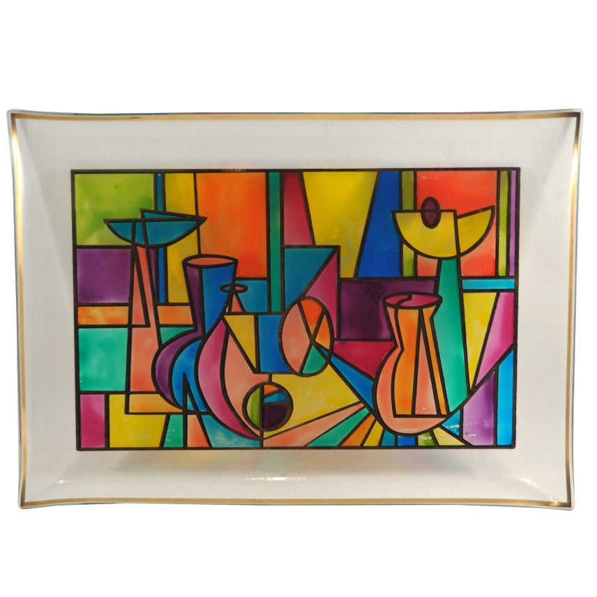 Multi Color Cubist Bent Glass Tray, The Hour Shop