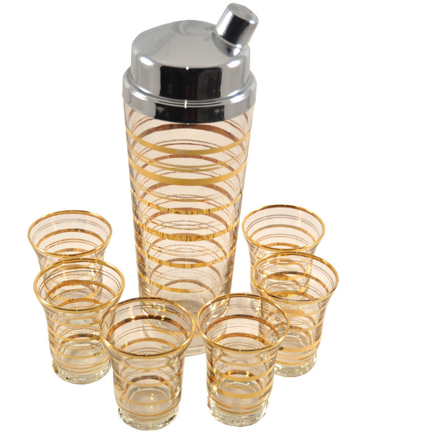 1920s Vintage Gold Rings Cocktail Shaker Set, The Hour Shop