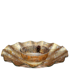 Gold Basketweave Chip & Dip Glass Tray, The Hour