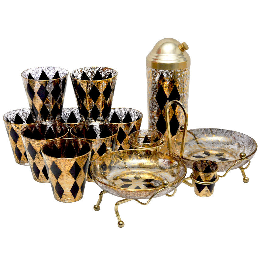 Vintage Gold & Black Diamonds Cocktail Set, The Hour