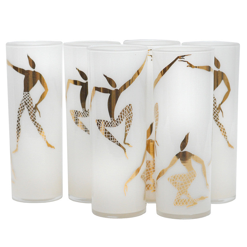 Gold Stylized Dancers Zombie Glasses, The Hour Shop Vintage Cocktail Glasses