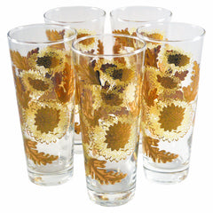 Culver Gold Chrysanthemum Glasses, The Hour Shop Vintage Cocktail Glasses
