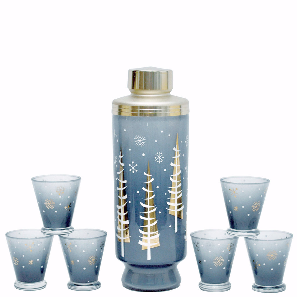 The Hour, Vintage Gay Fad Christmas Tree Cocktail Shaker Set