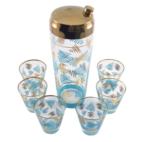 Aqua & Gold Cocktail Shaker Set