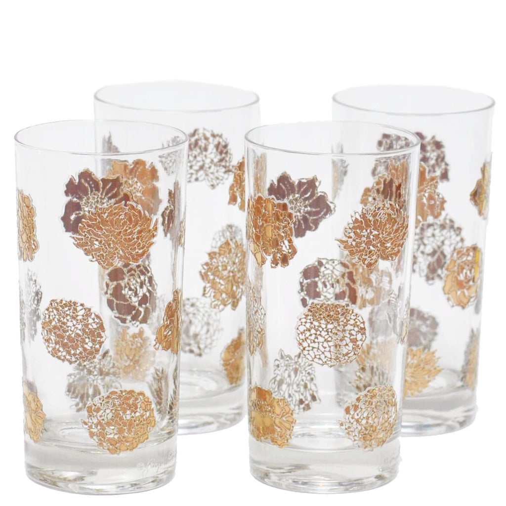 Vintage G. Briard Gold Flowers Collins Glasses, The Hour