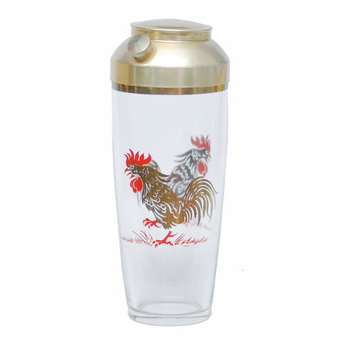 Gold & Red Rooster Cocktail Shaker