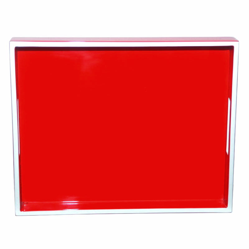 Red & White Trim Lacquer Tray, The Hour Shop Barware