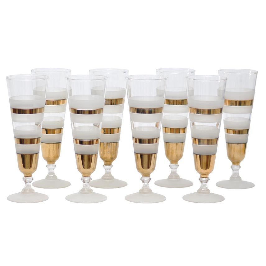 Frosted & Gold Bands Pilsner Glasses, The Hour Shop Vintage Cocktail Glasses