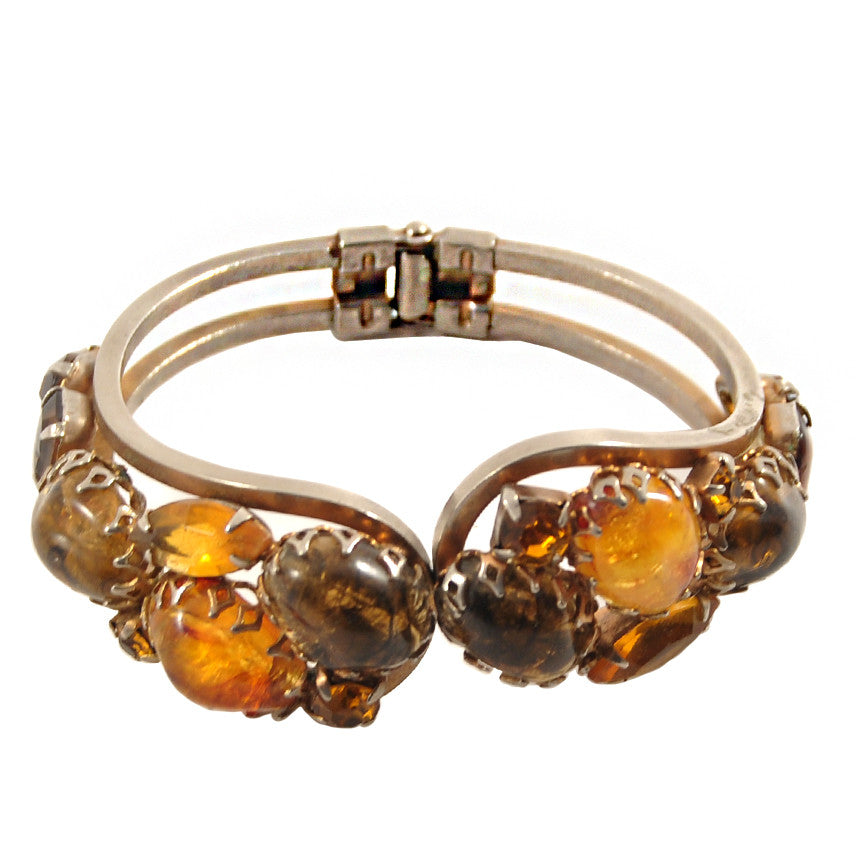 The Hour Shop, Amber & Gold Clamper Bracelet