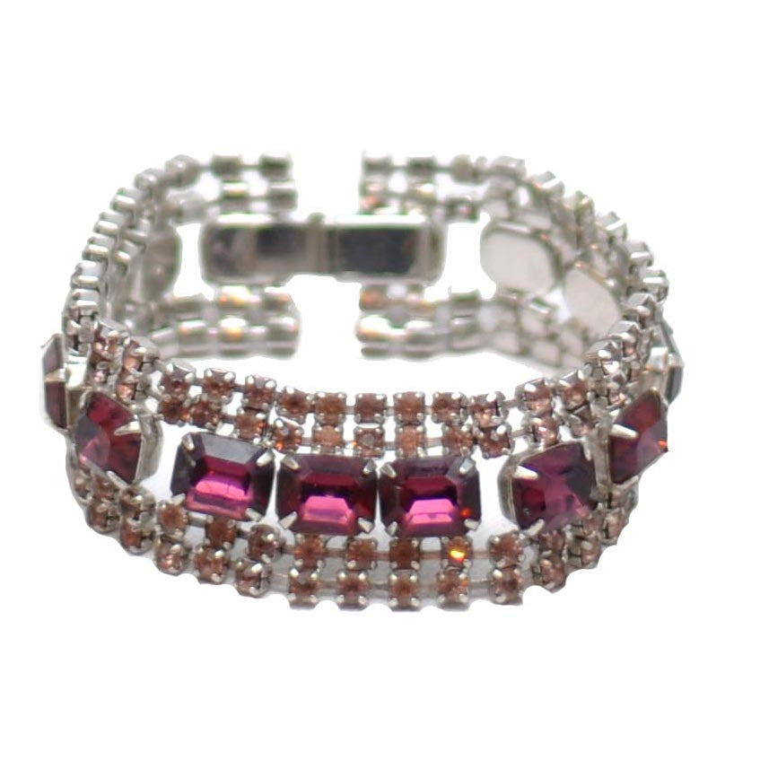 The Hour Shop, Purple & Pink Rhinestone Bracelet