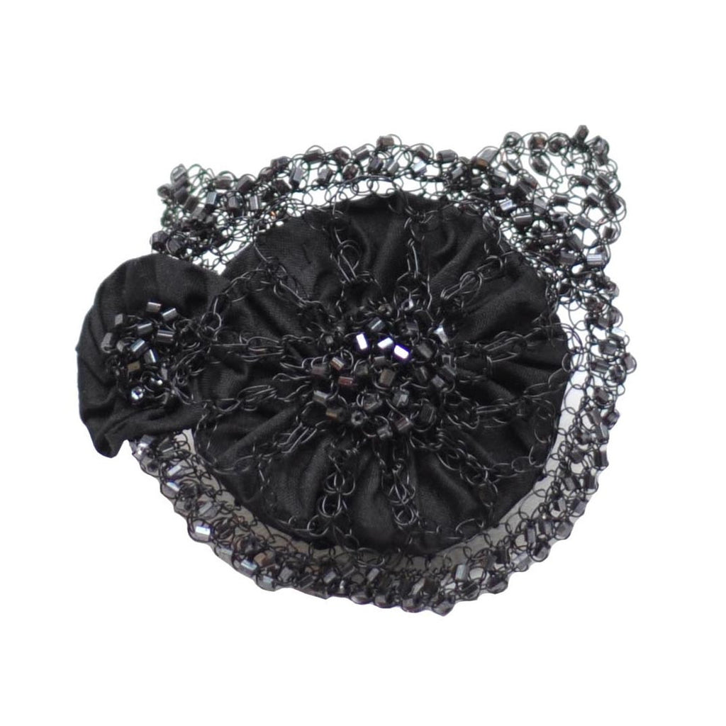 The Hour Shop,Handmade Beaded Black Flowers Hair Clip