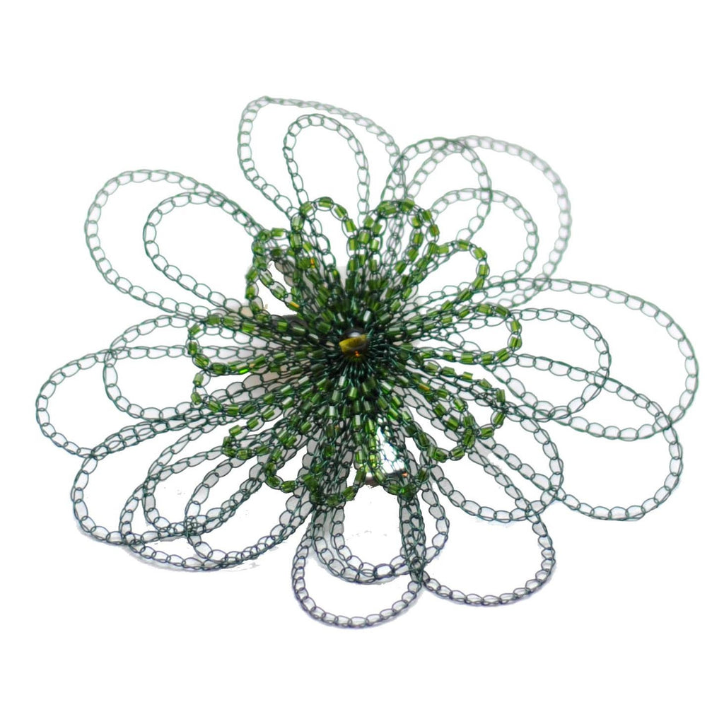 Lisa Toland Handmade Green Beaded Flower Hair Clip