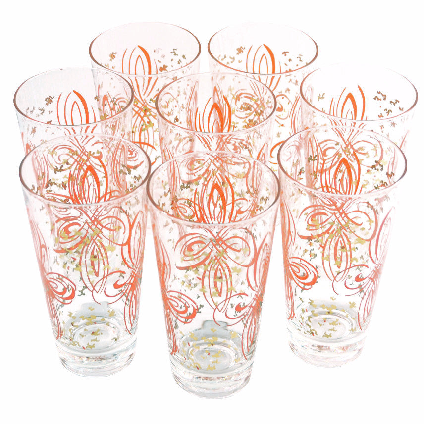 Vintage Red & Gold Collins Tumbler Glasses, The Hour