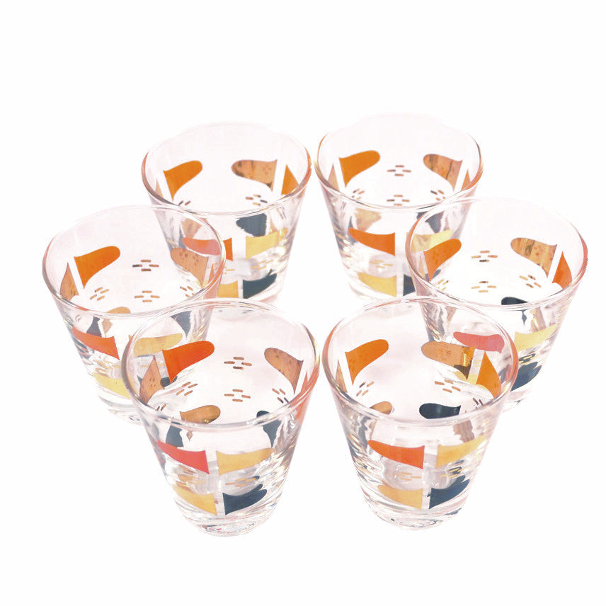 The Hour Shop, Orange/Black/Gold Cocktail Glasses