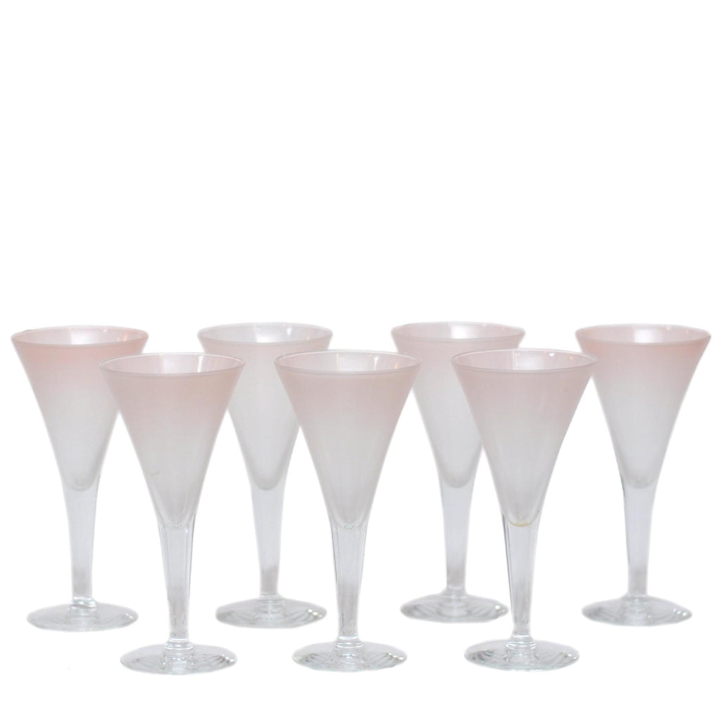 Vintage D. Thorpe Pink Frosted Wine Goblets, The Hour
