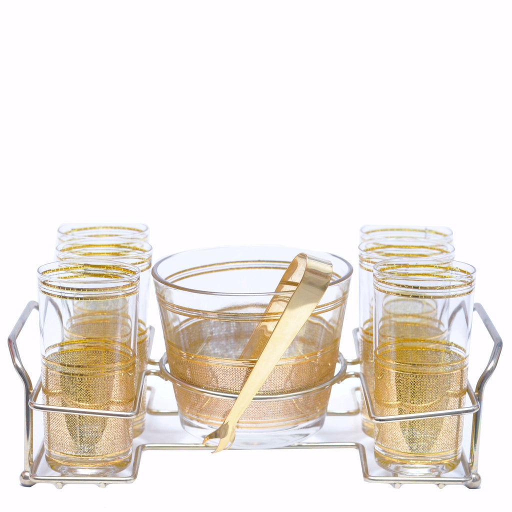 The Hour, Vintage Culver Gold Mesh Ice Bucket Glass Set