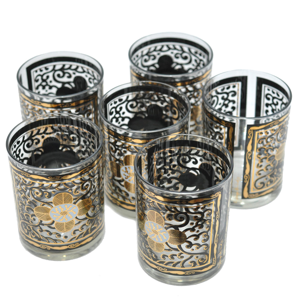 The Hour Shop, Georges Briard Gold/Black Flower Glasses