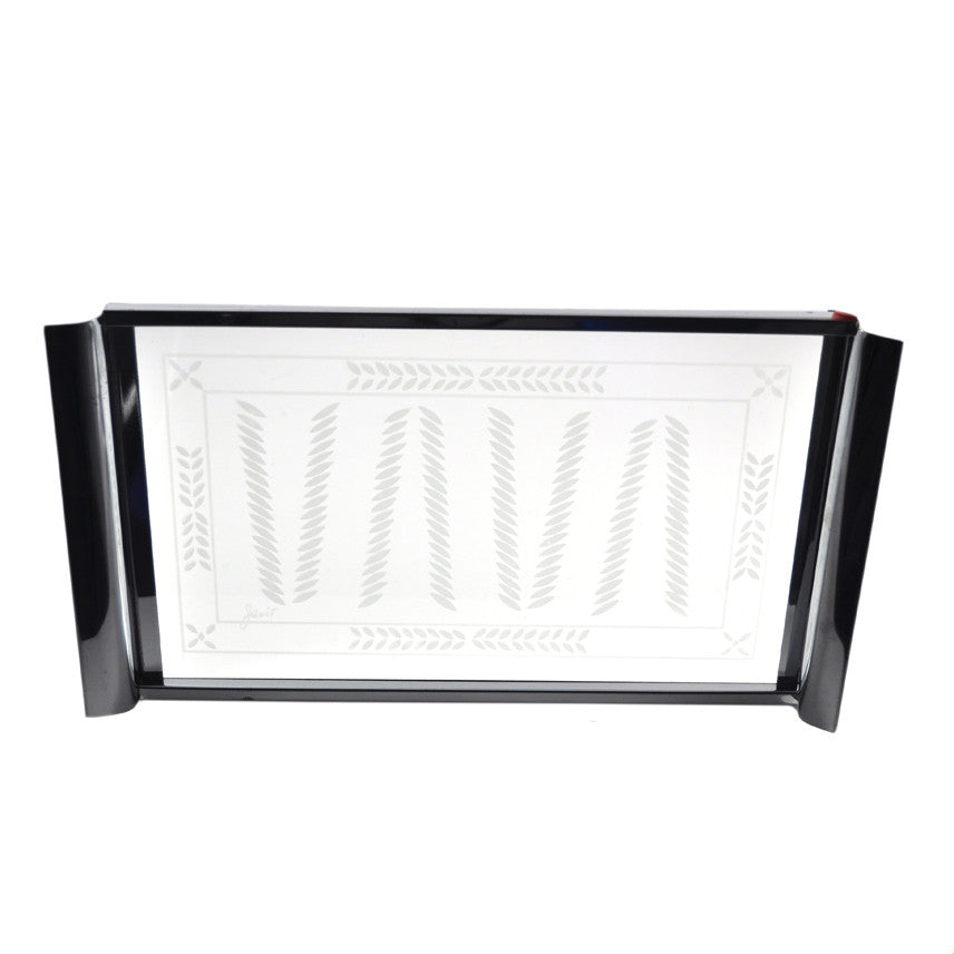 Vintage Javit Frosted Glass & Chrome Tray, The HourShop.com