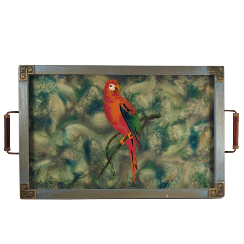 The Hour Shop, Reverse Painted Parrot Tray