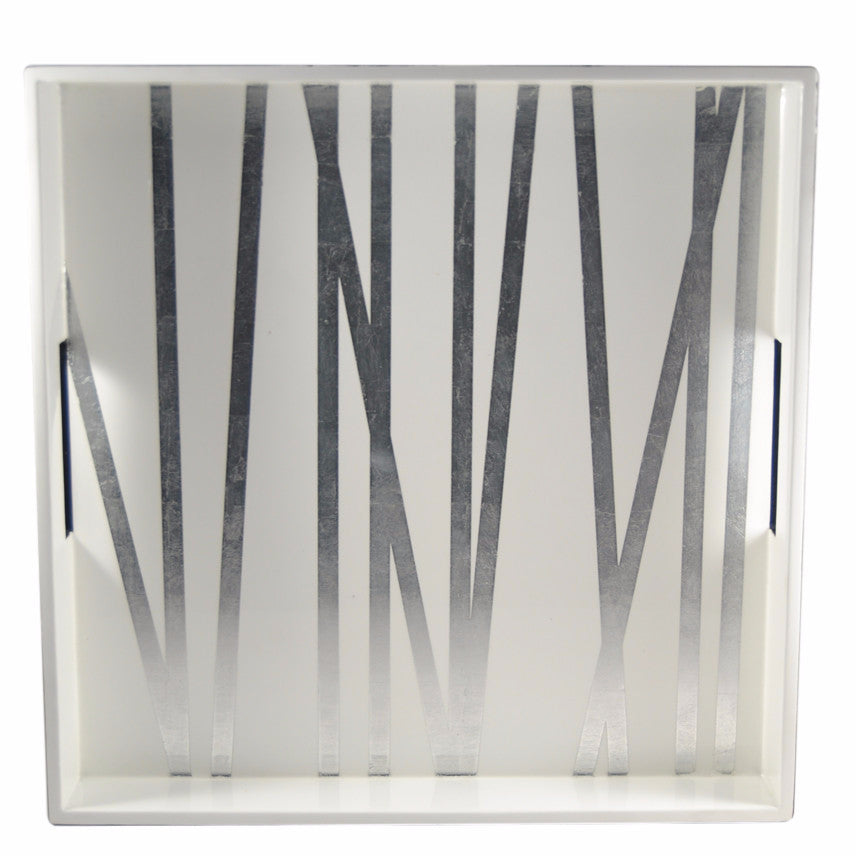 The Hour Shop, White / Silver Leaf Grass Styx Cocktail Tray