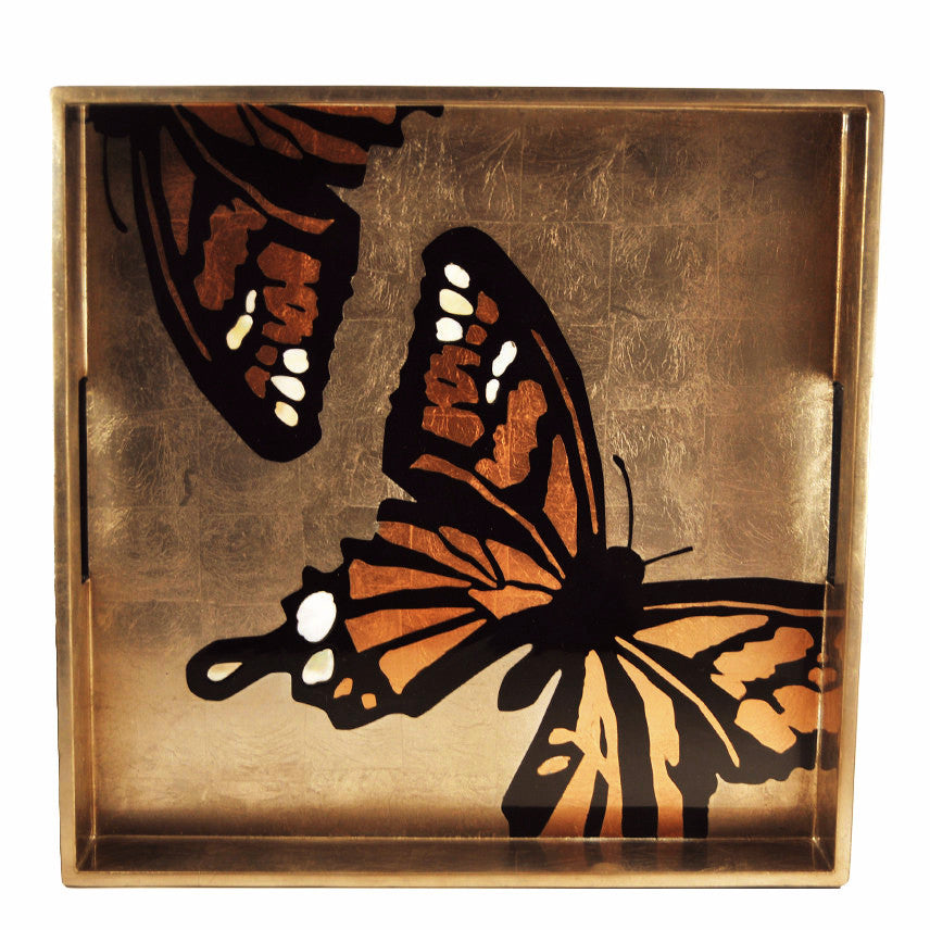 The Hour, Bronze Butterfly Mother of Pearl Lacquer Tray
