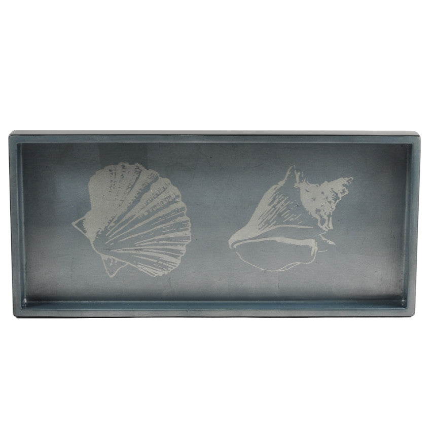 The Hour Shop, Silver Seashells Two Drink Lacquer Tray