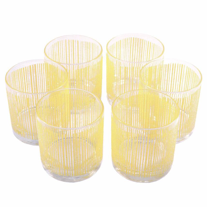 Vintage G. Briard Yellow Icicle Rocks Glasses, The Hour