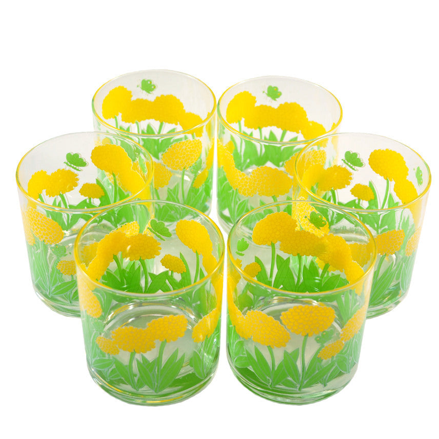 Georges Briard Marigold Rocks Glasses, The Hour Shop Vintage Cocktail Glasses