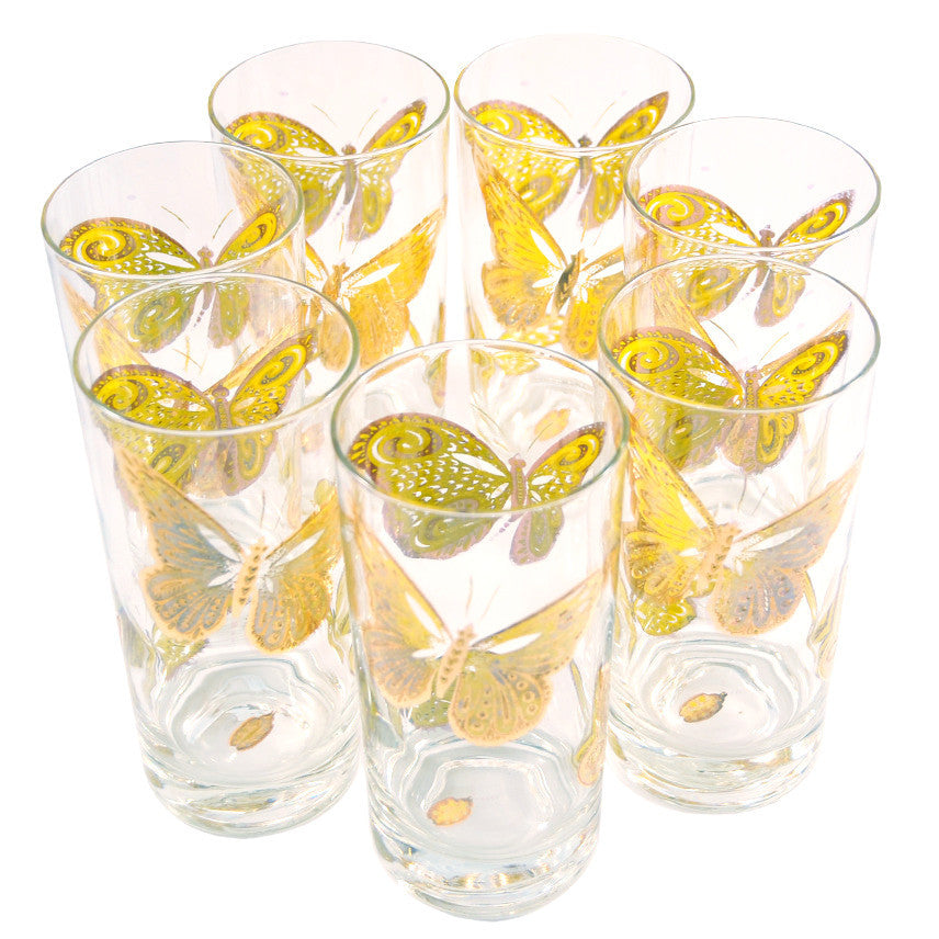 The Hour, Vintage Gold & Yellow Butterfly Collins Glasses