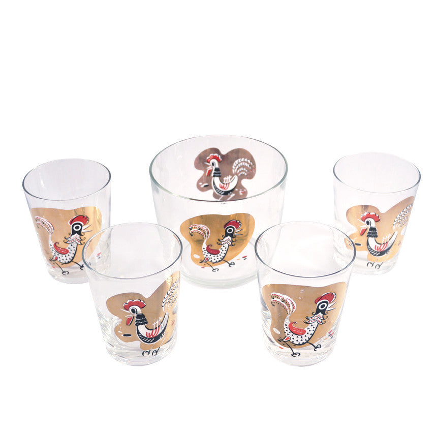 Rooster Ice Bucket & Rocks Set