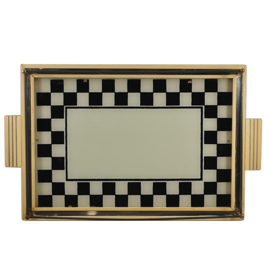 Vintage Reverse Painted Checkerboard Tray, The Hour