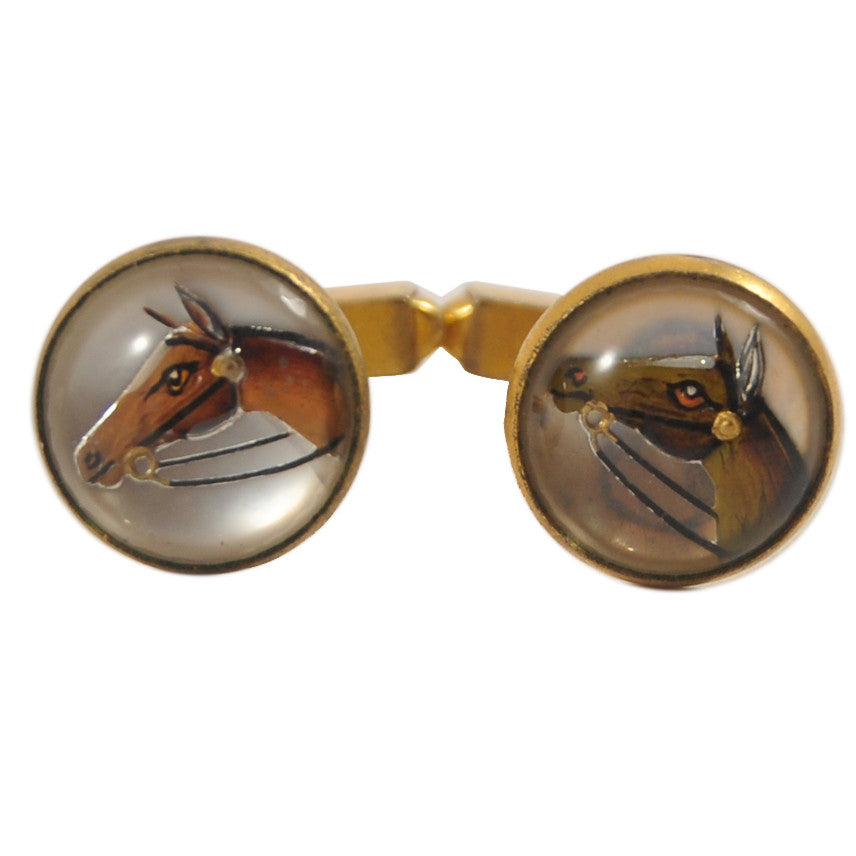 Vintage Gold Swank Horse Head Cuff Links, The Hour Shop
