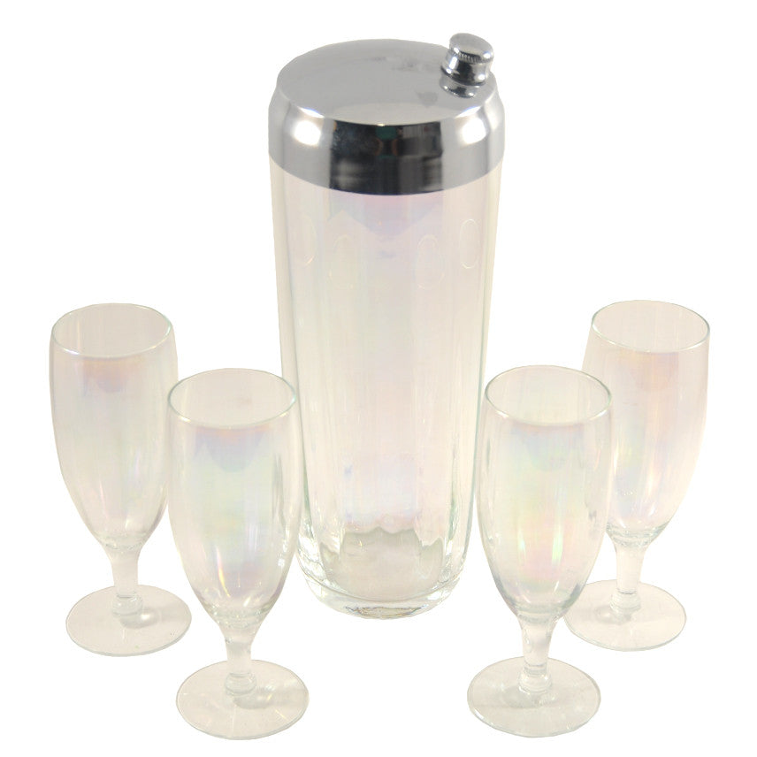 The Hour Shop, Iridescent Glass Cocktail Shaker Set