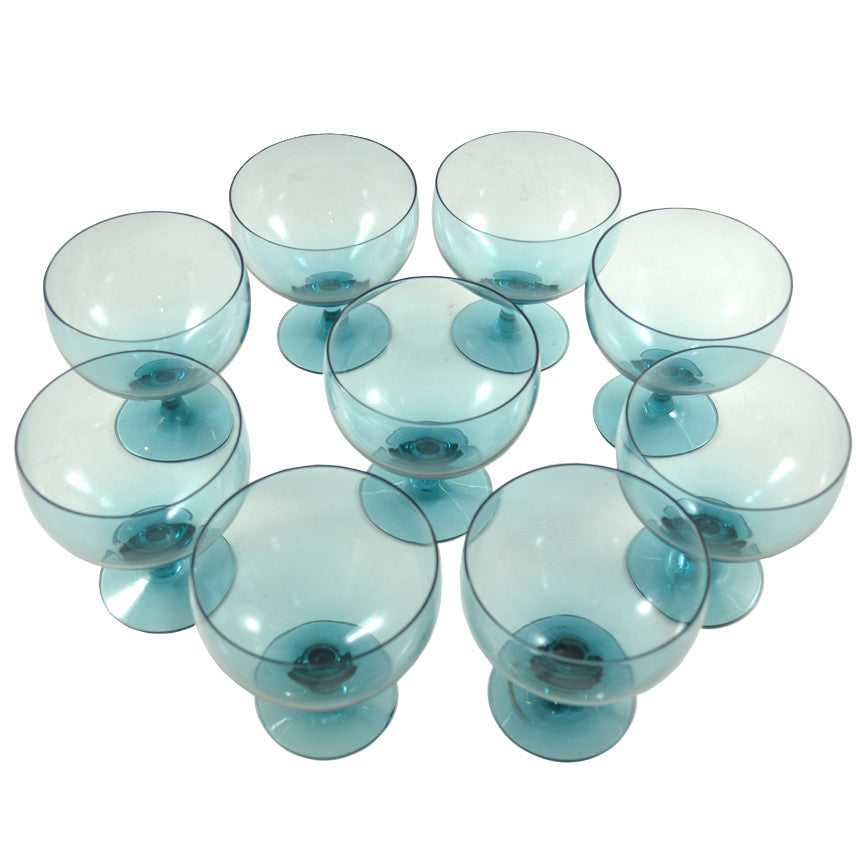 Vintage Russel Wright Teal Cocktail Glasses, The Hour