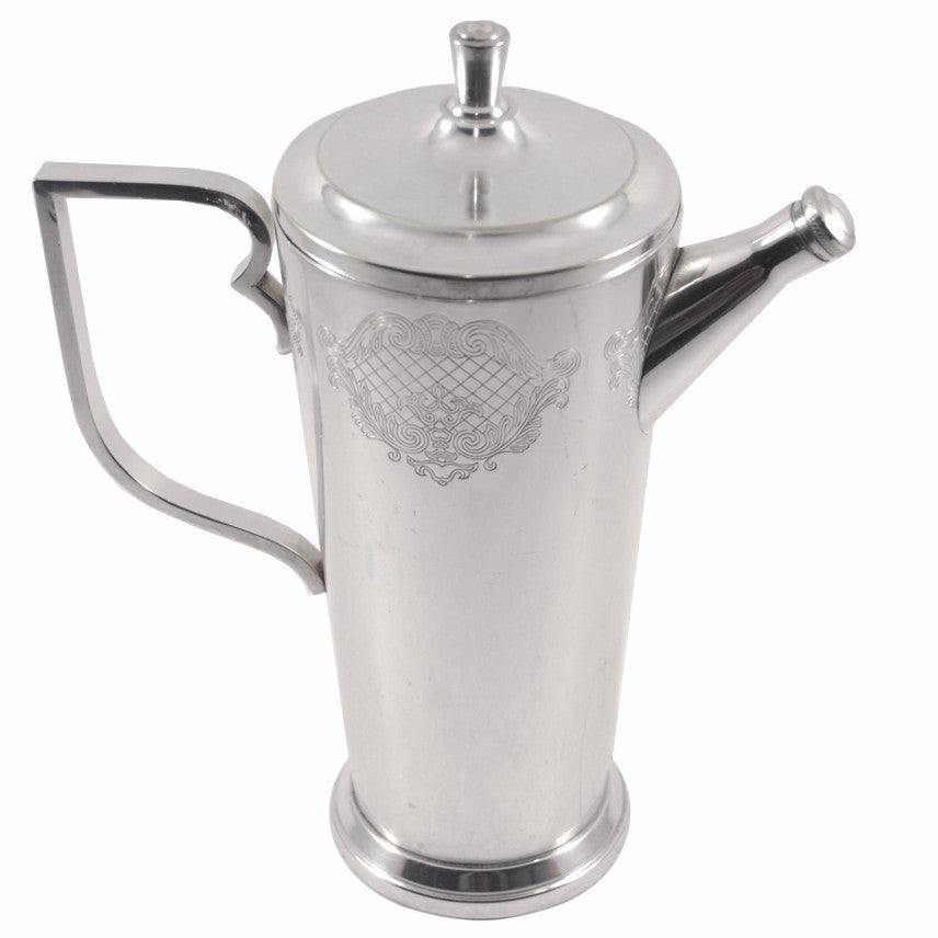 Art Deco Engraved Silverplate Cocktail Shaker, The Hour