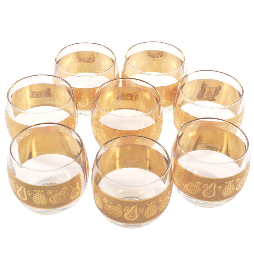 The Hour, Vintage Culver Gold Fruit Roly Poly Glasses