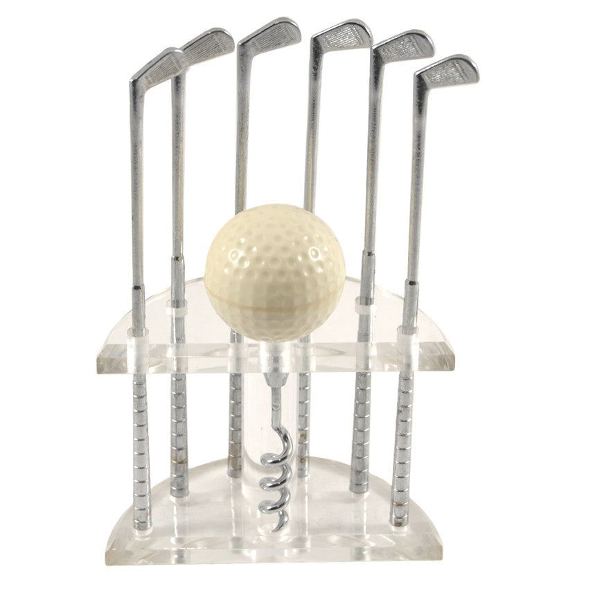 Vintage Golf Club Stirrers & Corkscrew Bar Set, The Hour