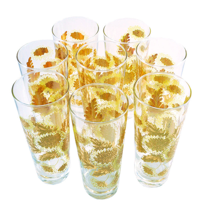 Gold & Yellow Chrysanthemum Collins Glasses, The Hour