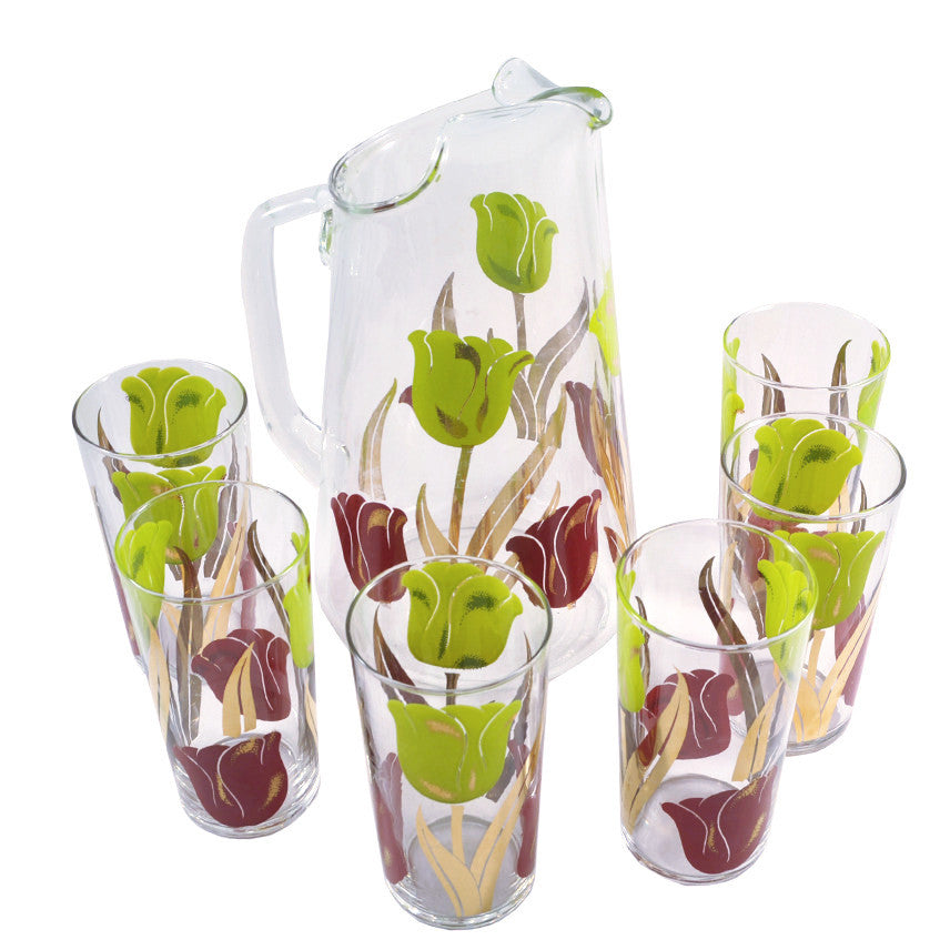 Mid Century Tulips Pitcher and Glasses Set, The Hour
