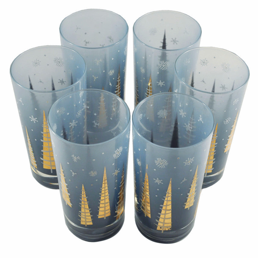 Vintage Gay Fad Blue Christmas Tree Glasses, The Hour