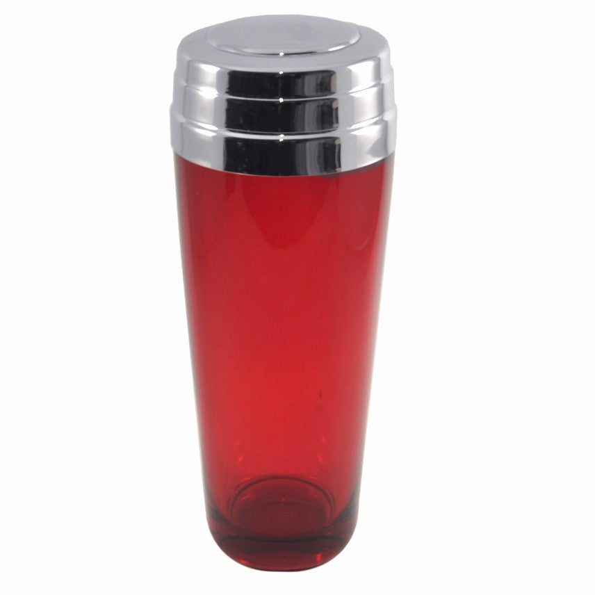 The Hour Vintage Art Deco Ruby Red Glass Cocktail Shaker