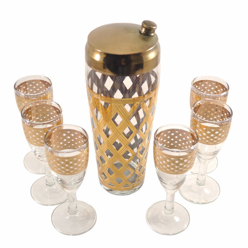 Gold Diamond Lattice Weave Cocktail Shaker Set, The Hour Shop