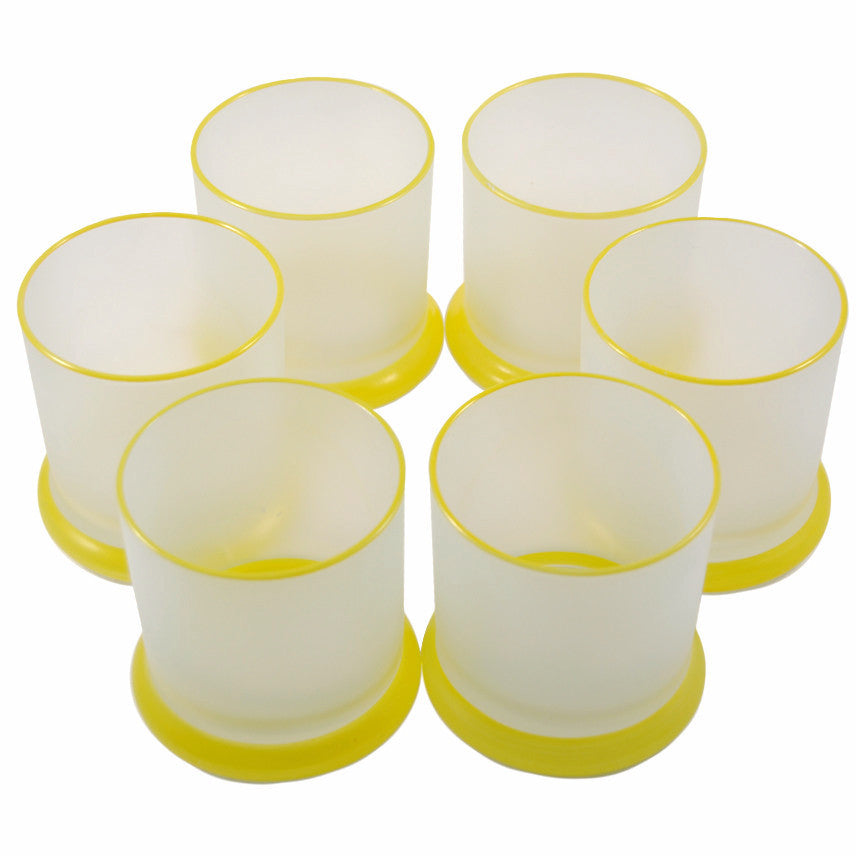 Vintage Thorpe Yellow, Frosted Rocks Glasses, The Hour