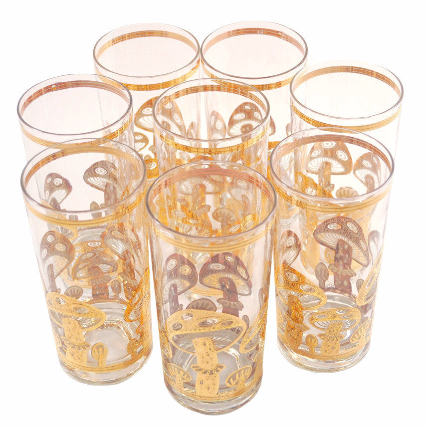 Vintage Culver Gold Mushroom Collins Glasses, The Hour