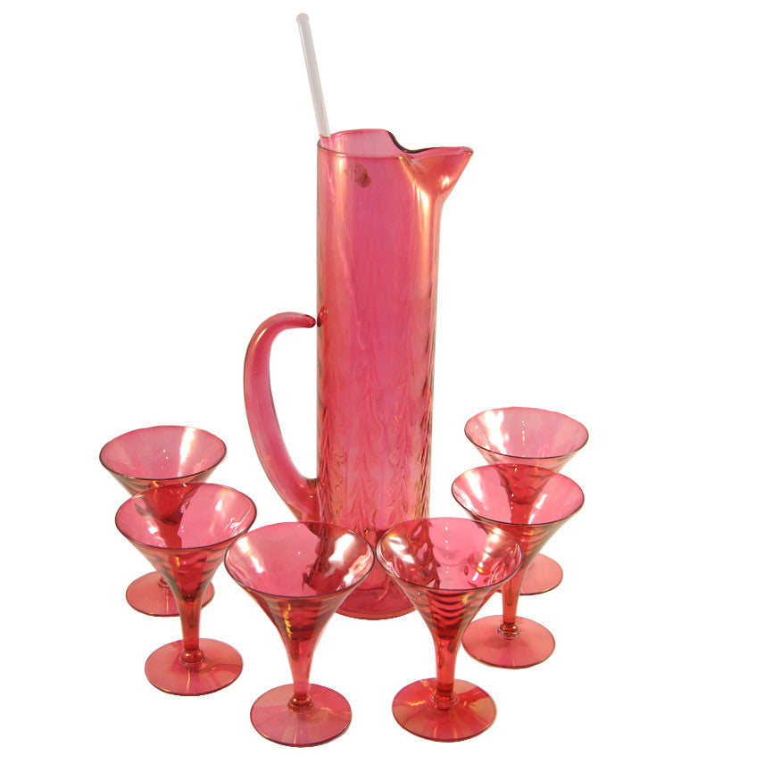Vintage Ruby Red Glass Cocktail Pitcher & Martini Glass Set, TheHourShop.com